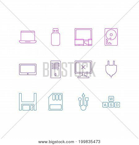 Editable Pack Of Flash Drive, Usb Icon, Notebook And Other Elements.  Vector Illustration Of 12 Notebook Icons.