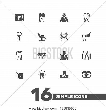 Collection Of Decay, Prosthesis, Gingivitis And Other Elements.  Set Of 16 Dental Icons Set.