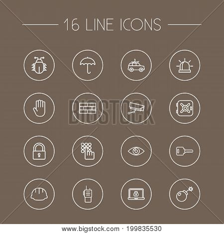 Collection Of Lock, Hand , Firewall Elements.  Set Of 16 Safety Outline Icons Set.