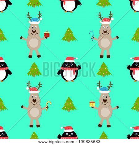 Penguin deer new year seamless pattern vector