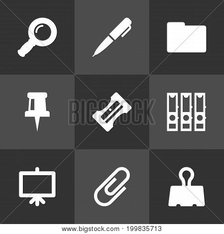 Collection Of Zoom Glasses, Folder, Pushpin And Other Elements.  Set Of 9 Stationery Icons Set.