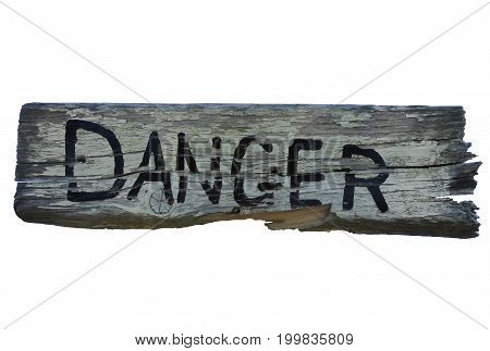 isolated danger sign on white background cut out