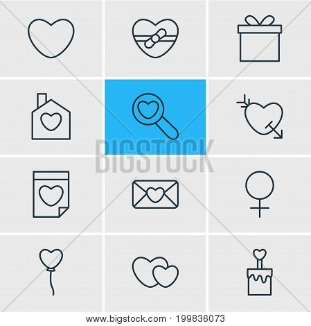 Editable Pack Of Hearts, Decoration, Woman And Other Elements.  Vector Illustration Of 12 Passion Icons.
