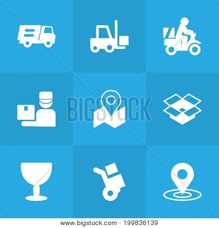 Collection Of Lorry, Gps, Transportation And Other Elements.  Set Of 9 Shipment Icons Set.