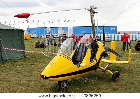 Moscow Region - July 21 2017: Gyroplane MTOsport 2010 at the International Aviation and Space Salon (MAKS) in Zhukovsky.