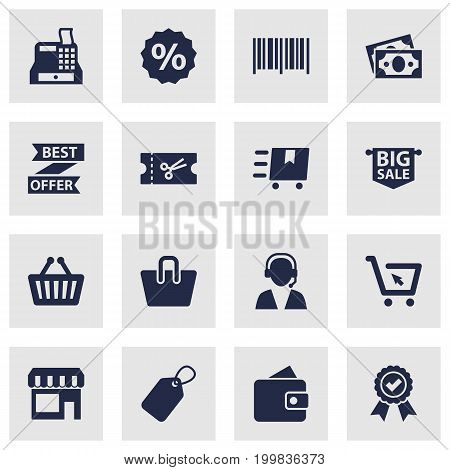 Collection Of Till, Guarantee, Identification Code And Other Elements.  Set Of 16 Store Icons Set.