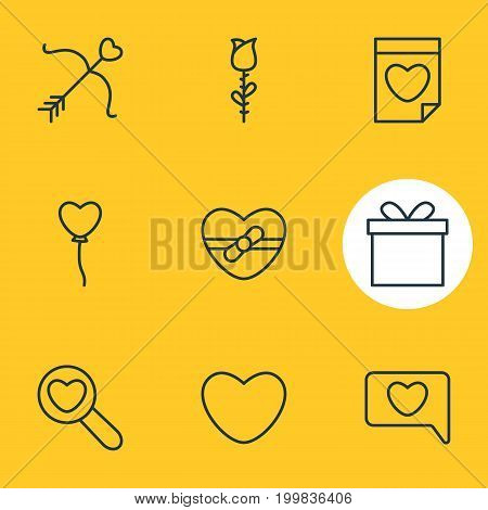 Editable Pack Of Valentine, Decoration, Gift And Other Elements.  Vector Illustration Of 9 Passion Icons.