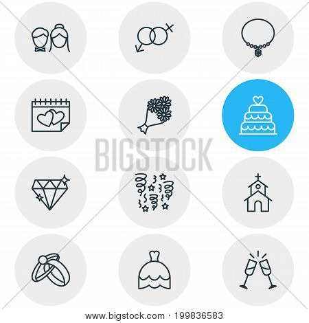Editable Pack Of Engagement, Bridal Bouquet, Building And Other Elements.  Vector Illustration Of 12 Engagement Icons.
