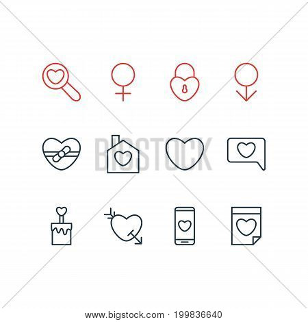 Editable Pack Of Male, Valentine, Messenger And Other Elements.  Vector Illustration Of 12 Passion Icons.