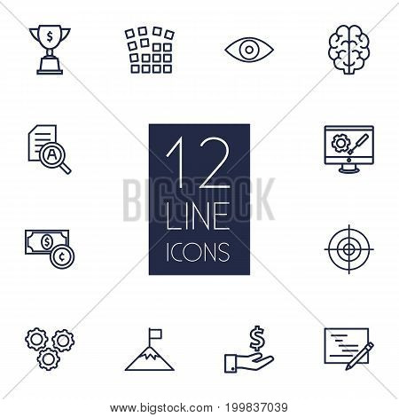 Collection Of Working Process, Target, Money Saving And Other Elements.  Set Of 12 Idea Outline Icons Set.
