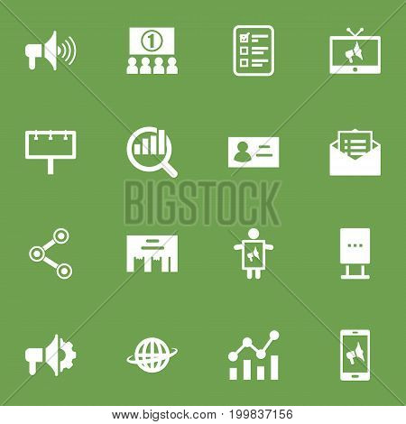 Collection Of Billboard, Inbox, Man With Banner And Other Elements.  Set Of 16 Advertising Icons Set.