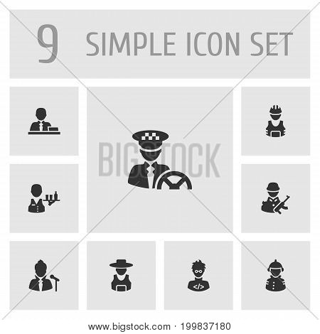 Collection Of Coder, Rancher, Driver And Other Elements.  Set Of 9 Job Icons Set.