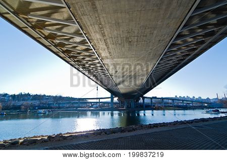 Scenery below the cable bridge construction site, Ada, Belgrade, Serbia