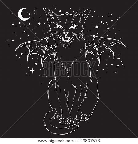 Creepy black cat with monster wings over night sky with moon and stars. Wiccan familiar spirit halloween or pagan witchcraft theme print design vector illustration