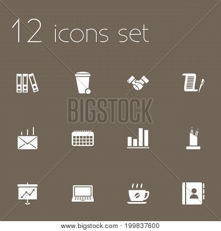 Collection Of Calendar, Coffee, Diagram And Other Elements.  Set Of 12 Bureau Icons Set.