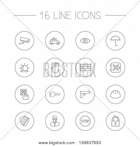 Collection Of Open, No Entry, Firewall And Other Elements.  Set Of 16 Safety Outline Icons Set.