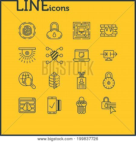 Editable Pack Of Safeguard, Camera, Finger Identifier And Other Elements.  Vector Illustration Of 16 Security Icons.