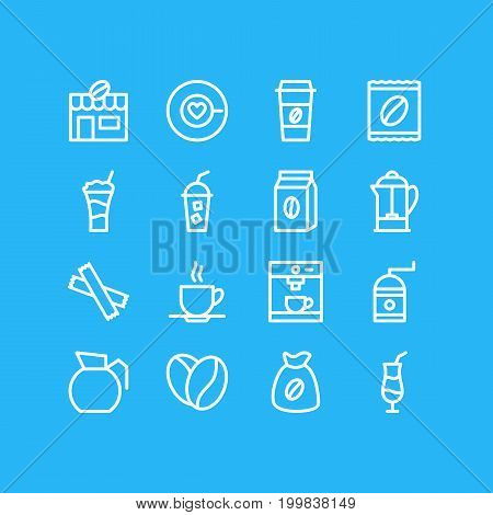 Editable Pack Of Seed, Drink Pot, Package Latte And Other Elements.  Vector Illustration Of 16 Java Icons.
