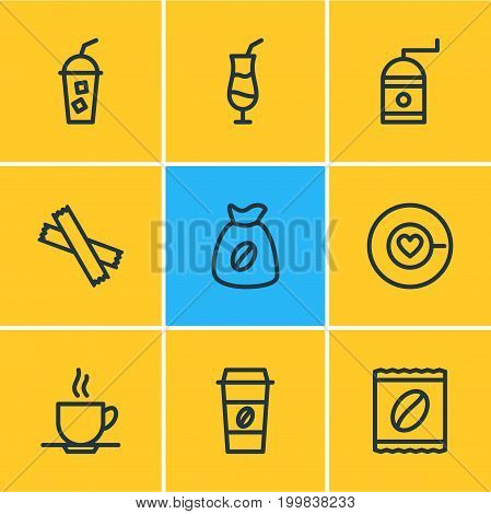 Editable Pack Of Soft Beverage, Sweetener, Mill And Other Elements.  Vector Illustration Of 9 Java Icons.