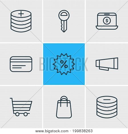 Editable Pack Of Minus, Sales, Shopping And Other Elements.  Vector Illustration Of 9 Trading Icons.