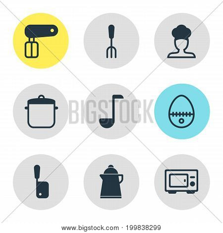 Editable Pack Of Oven, Soup Spoon, Butcher Knife And Other Elements.  Vector Illustration Of 9 Kitchenware Icons.