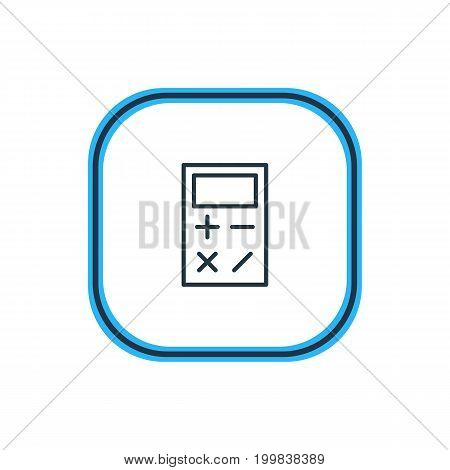 Beautiful Education Element Also Can Be Used As Calculate  Element.  Vector Illustration Of Calculator Outline.
