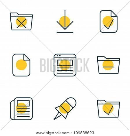 Editable Pack Of Deleting Folder, Delete, Note And Other Elements.  Vector Illustration Of 9 Office Icons.