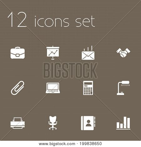 Collection Of Office Chair, Diplomat, Printer And Other Elements.  Set Of 12 Work Icons Set.