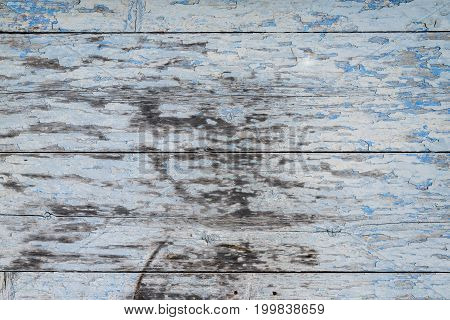 Detail Of Old Wooden Painted Surface With A Lot Of Cracks , Texture