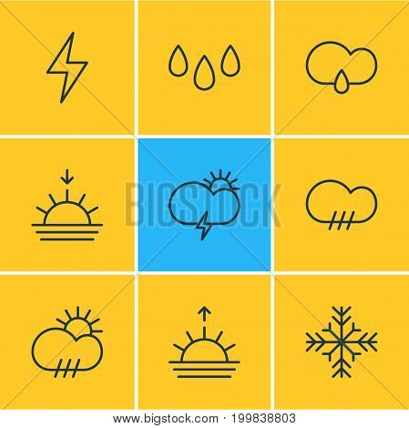Editable Pack Of Sunset, Windstorm, Rain And Other Elements.  Vector Illustration Of 9 Sky Icons.