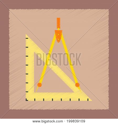 flat shading style icon education ruler compass