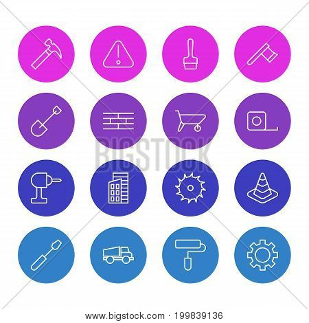 Editable Pack Of Hatchet, Lorry, Spade And Other Elements.  Vector Illustration Of 16 Construction Icons.