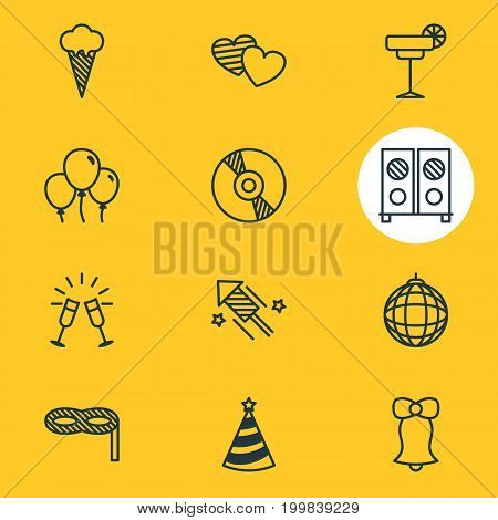 Editable Pack Of Jingle, Firecracker, Decoration And Other Elements.  Vector Illustration Of 12 Banquet Icons.