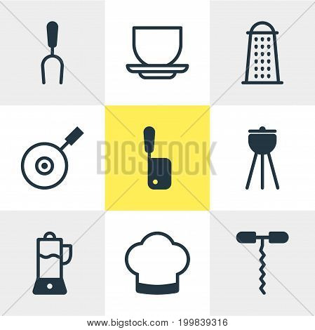 Editable Pack Of Skillet, Chef Hat, Barbecue And Other Elements.  Vector Illustration Of 9 Kitchenware Icons.