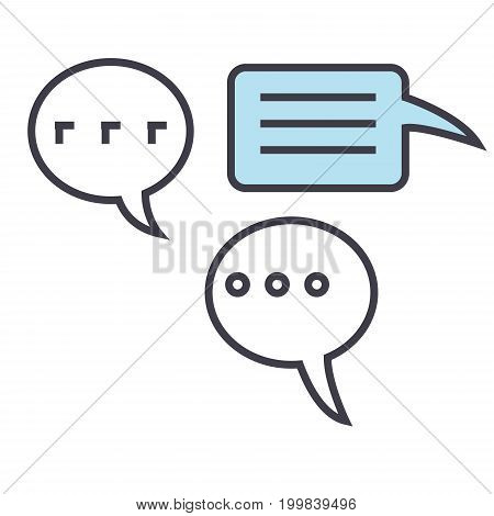 Chats, talking, talks concept. Line vector icon. Editable stroke. Flat linear illustration isolated on white background