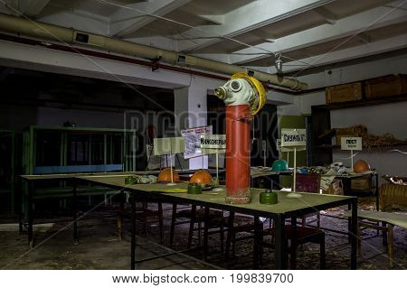 Russia, Voronezh - CIRCA 2017: Abandoned underground bomb shelter. Former point of issue of personal protective equipment