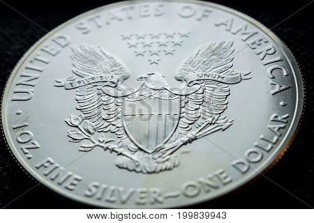 closeup of silver american eagle coin detail
