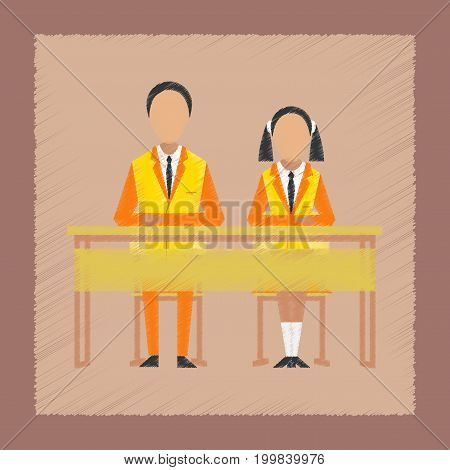 flat shading style icon school pupils at school desk