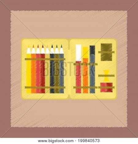 flat shading style icon education pencil box pencil pen
