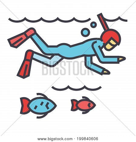 Diving in the sea with fish, scuba diving, snorkeling concept. Line vector icon. Editable stroke. Flat linear illustration isolated on white background