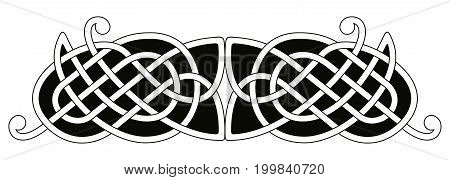 Celtic national ornament interlaced tape. Vector black ornament isolated on white background.