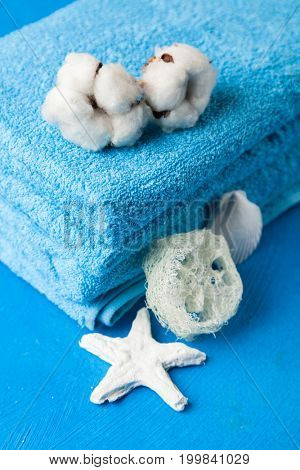 Soft blue towels