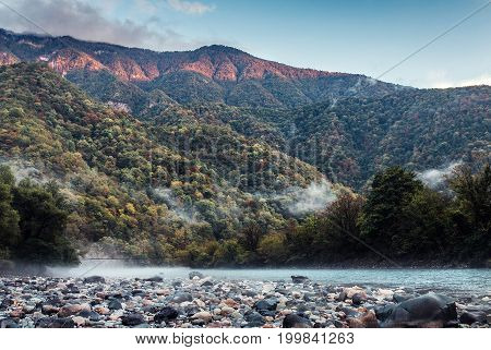 The Bzyb Mountain River In The Republic Of Abkhazia