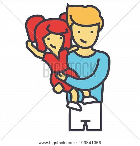 Happy father with daughter, dad with kid concept. Line vector icon. Editable stroke. Flat linear illustration isolated on white background
