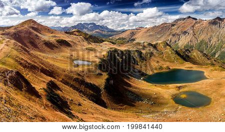 Panoramic View Over The Lakes And Mountains In Early Autumn In Abkhazia Valley Of Seven Lakes.