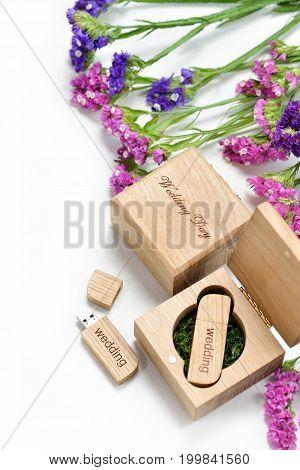 Original gift present. Beautiful white wedding photobook and Usb flash drive in Handmade wooden box. wedding concept