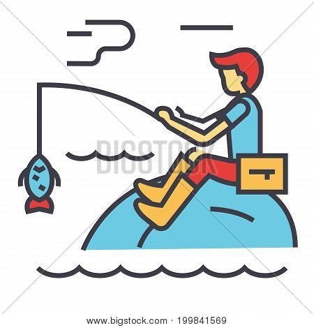 Fishing man with rod concept. Line vector icon. Editable stroke. Flat linear illustration isolated on white background
