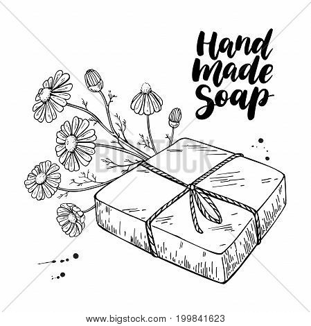 Handmade natural soap. Vector hand drawn illustration of organic cosmetic with chamomile medical flowers. Herbal bodycare. Great for label, logo, banner, packaging, spa and body care promote