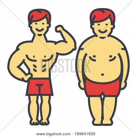 Guy losing weight, fat guy, before and after diet and fitness, slimming young man, male lose weight,  concept. Line vector icon. Editable stroke. Flat linear illustration isolated on white background