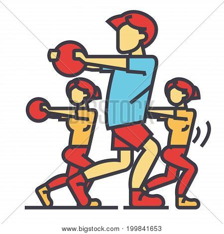 Fitness people in coaching gym concept. Line vector icon. Editable stroke. Flat linear illustration isolated on white background